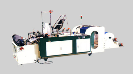 Irregular bag on roll making machine + Manual roll change system