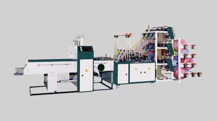 Double deck T-shirt bag making machine, cold-cut system (6 lines)