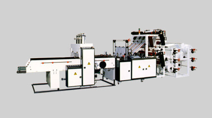 Double deck T-shirt bag making machine, cold-cut system (8 lines)