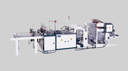 Tensionless thick guage bottom seal bag making machine + Heat-slitting system