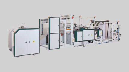 Semi-automatic bottom seal bag on roll making machine + Big core rewinding system