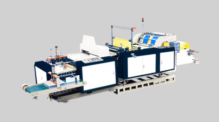 Tensionless heavy-duty bottom seal bag making machine + bag folding system