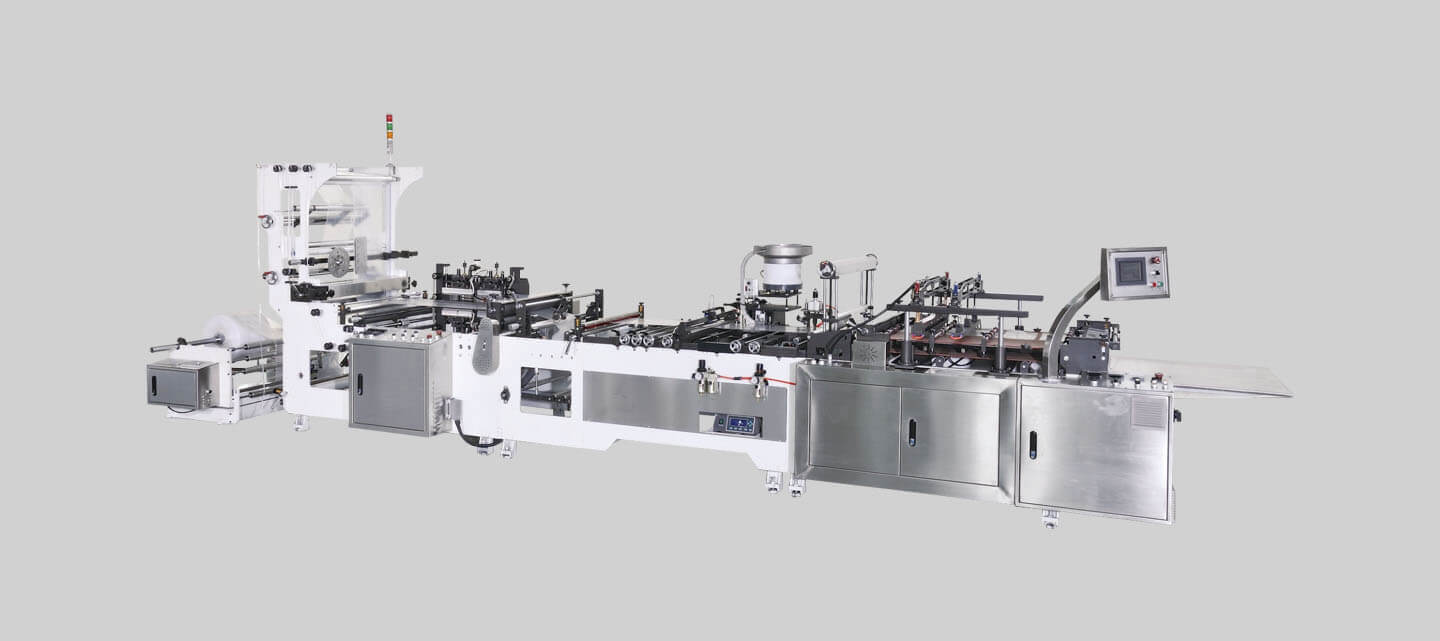 Zipper attachment bag making machine + Automatic slider insertion system